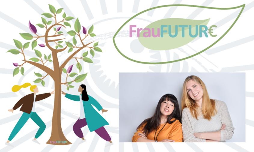 Das Bild zeigt das Logo und eine Grafik von FrauFuture